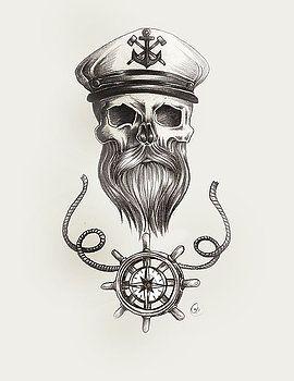Nautical bearded Skull by Jasmine Mills