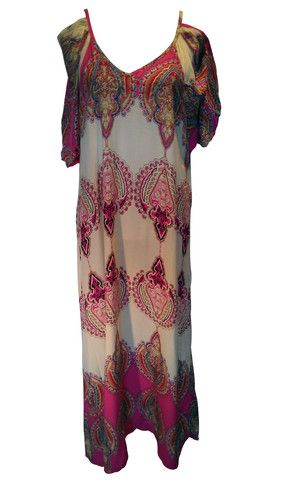 Boho Cream and Fuschia Maxi Dress – 365 Days Of Resort Wear