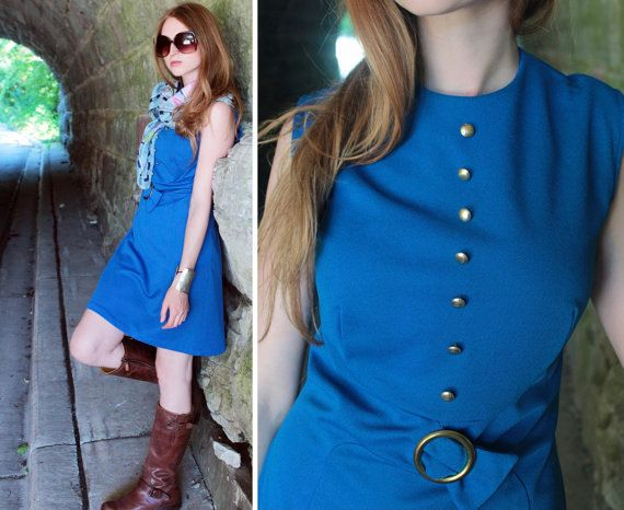 "70s Vintage Shift MINI DRESS Royal Blue ""GlenBrooke"" Women Medium Size 14 Modern Poly Knit ALINE Skirt Spring gold tone Buttons Buckle Dress by HarlowGirls on Etsy"