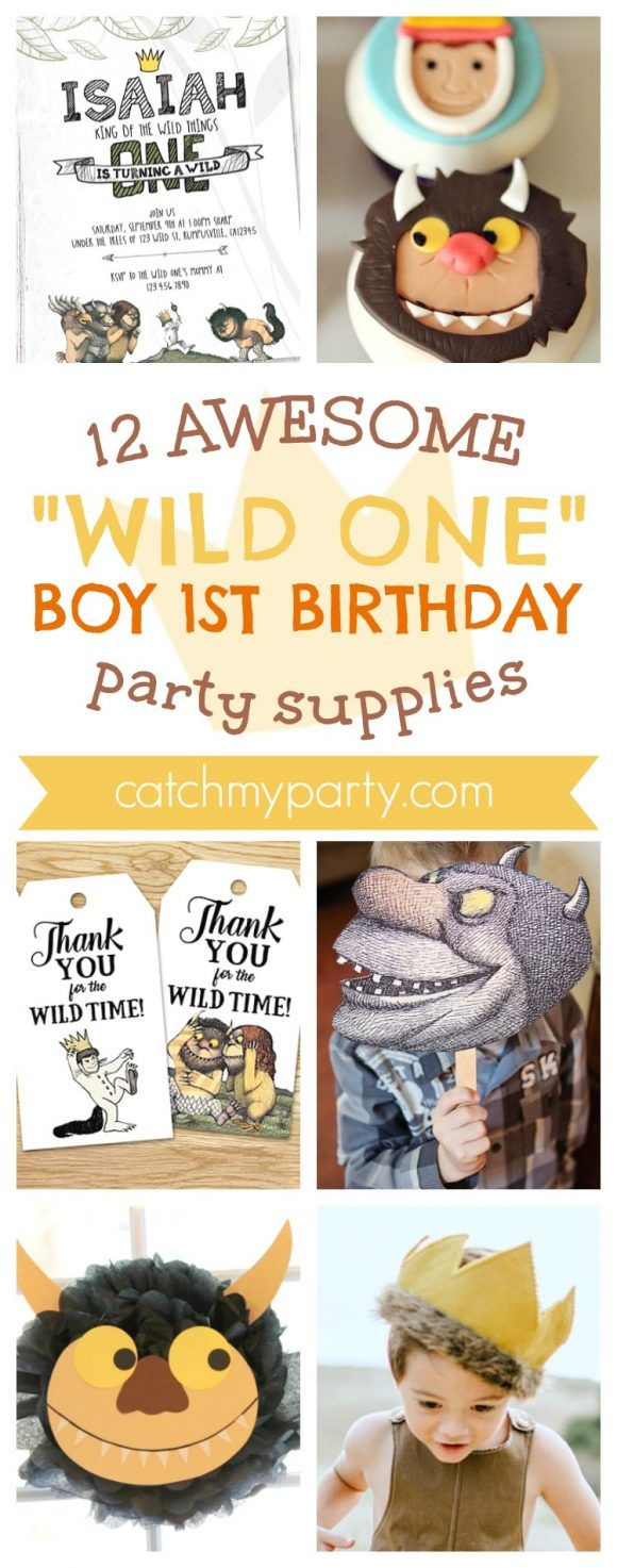 wording0th birthday party invitation%0A    Awesome Wild One Where The Wild Things Are Boy  st Birthday Party  Supplies   CatchMyParty