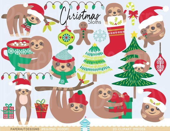 Christmas Clipart Sloth Sloth Clip Art Christmas Sloths Etsy Christmas Clipart Clip Art Christmas Sloth