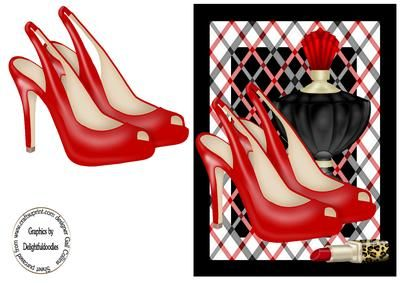 red for danger on Craftsuprint designed by Gail Collins - a pair of red shoes on a striking red white and black background.with perfume and lipstick - Now available for download!