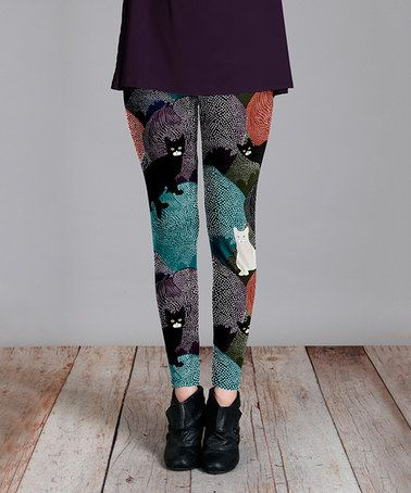Another great find on #zulily! Teal & Black Cat Leggings - Plus Too #zulilyfinds