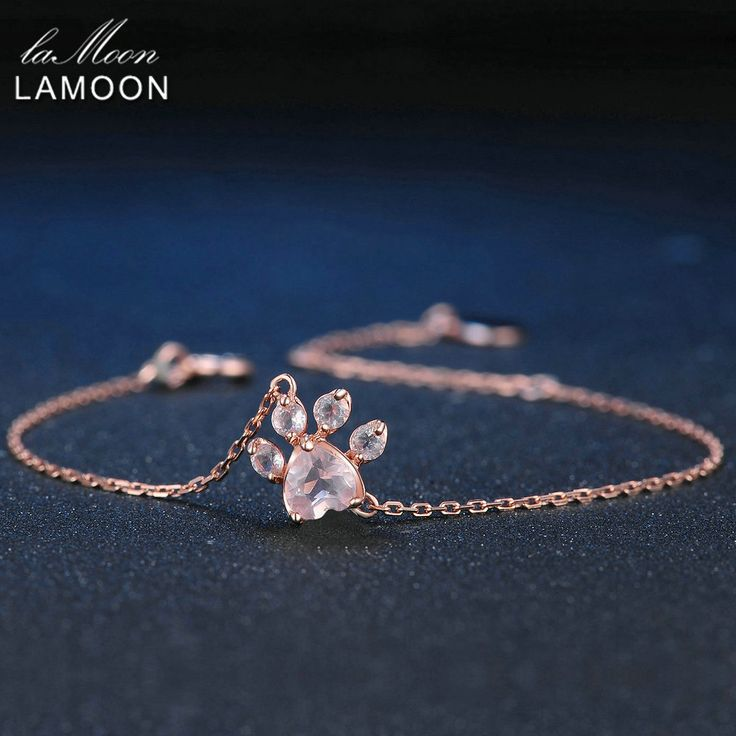 LAMOON Paw 5X5.5mm 100% Alami Jantung Pink Rose Quartz 925 Sterling Silver Jewelry Rose Emas Rantai Charm gelang S925 LMHI005