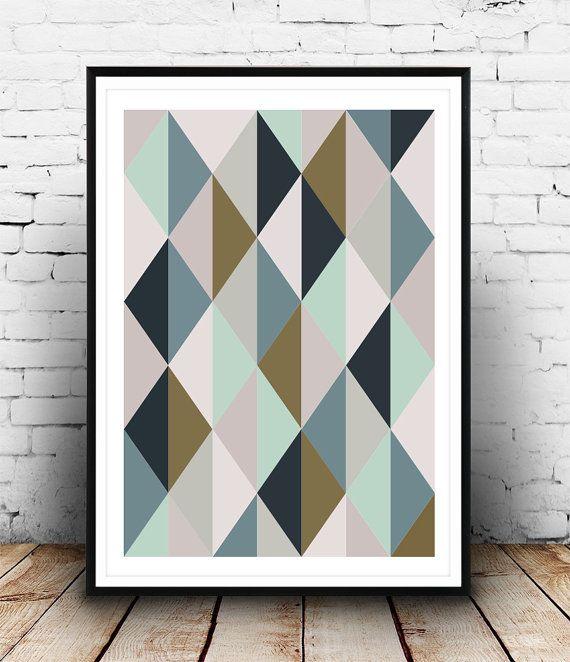 Scandinavian print Abstract art Harlequin pattern by Wallzilla