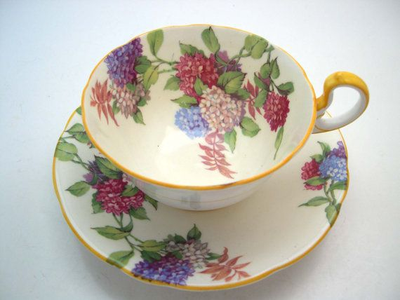 Antique Aynsley Hydrangea Tea Cup And Saucer, English tea cup set, Yellow…