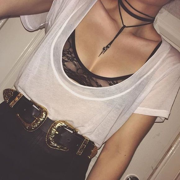 Black leather wrap choker 90s black choker Brand new leather choker comes only in black For Love and Lemons Jewelry Necklaces