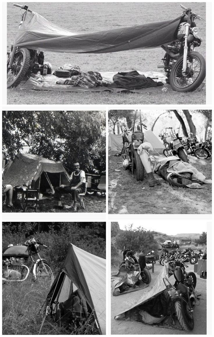oldschool motorcycle camping