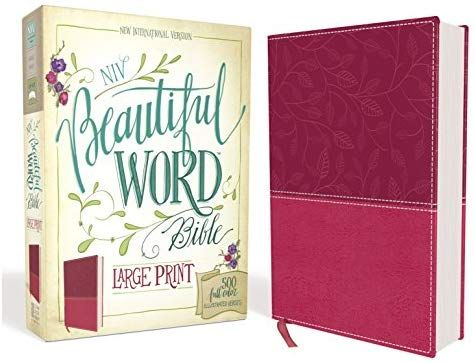 Niv Beautiful Word Bible Large Print Leathersoft Pink 500 Full Color Illustrated Verses Zondervan 0 Beautiful Word Bible Illustrated Verses Large Prints