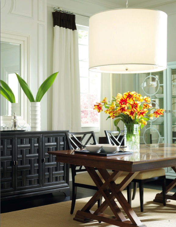 there is too much that I like about this decor. Especially the mid century modern china cabinet. Continuum collection Stanleyfurniture.com