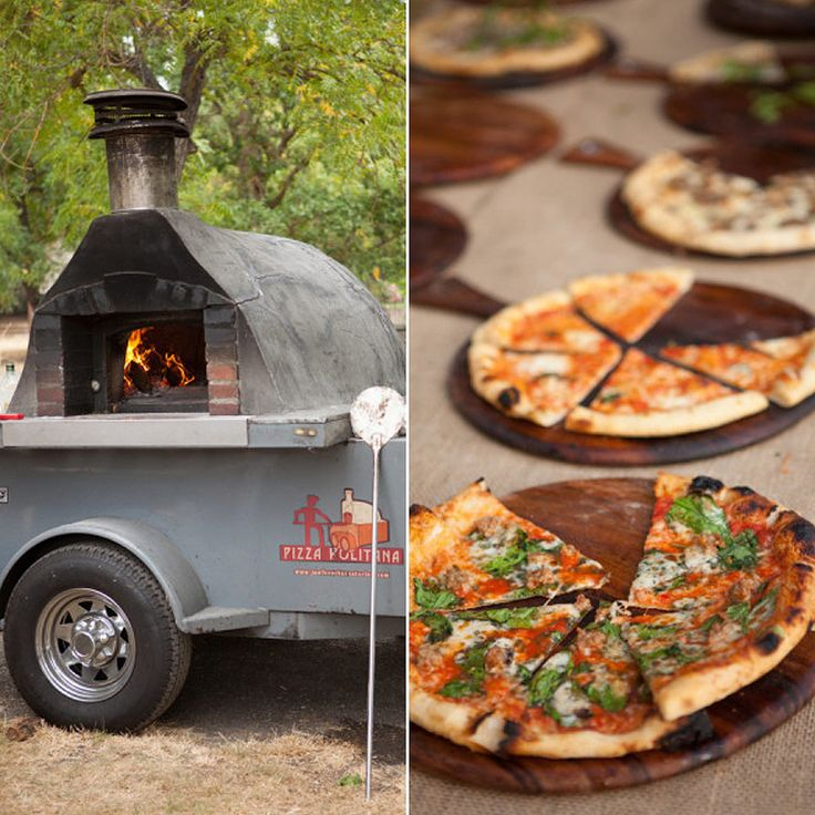 Serve up gourmet, fire-baked pizzas at your wedding instead of using a catering service.  Photo by Summer & Boyd via Style Me Pretty