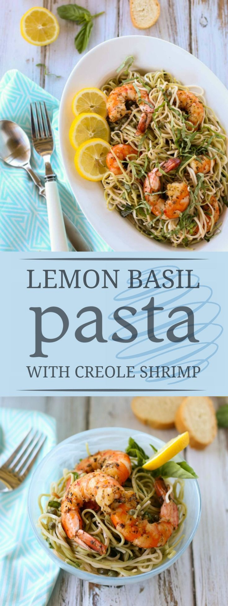 Lemon Basil Pasta | Delicious Creole Spicy Shrimp atop a tangy lemon ...