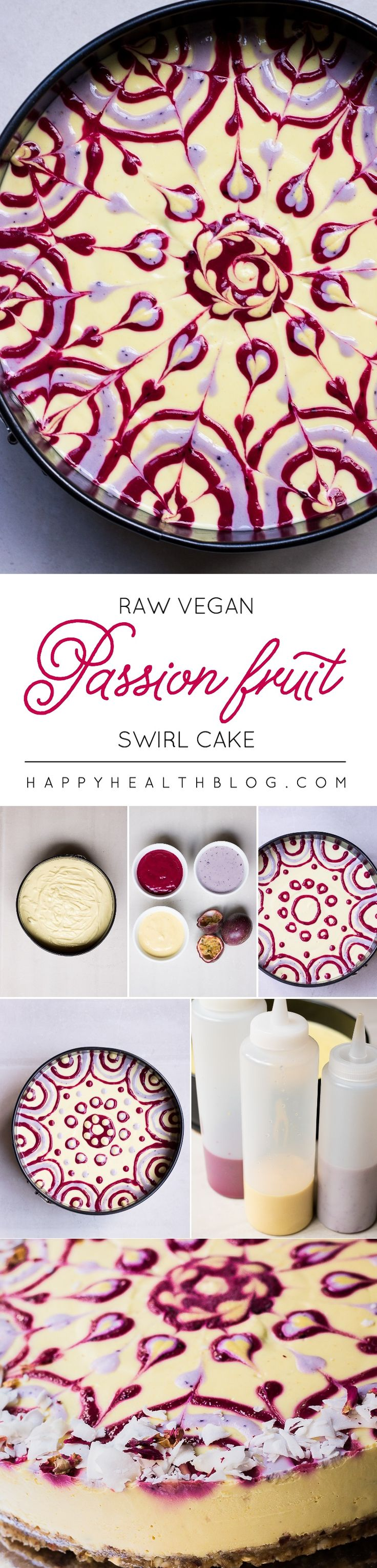 Dessert Recipe: Raw Passion Fruit Swirl Cake #vegan #recipes #healthy #plantbased #glutenfree #whatveganseat #dessert #rawfood