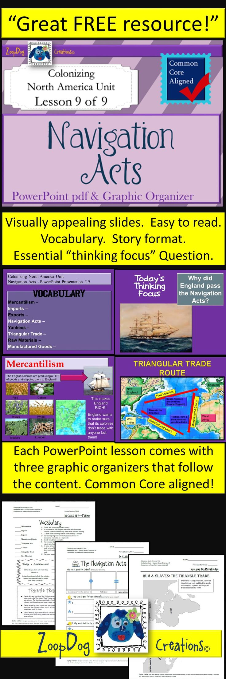 **FREE**  Navigation Acts PowerPoint and graphic organizers!  Visually appealing and easy to understand for your middle school students!  Download your copy today!