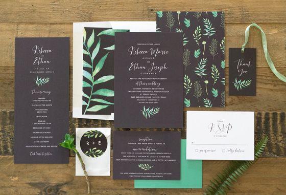 Calligraphic Botanical Wedding Invitation Suite