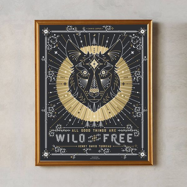 PRODUCTS :: LIVING AND DESIGN :: Accessories and Decorations :: Prints :: Wild & Free Wolf – Limited-Edition Screenprint Signed by CatCoq. Henry David Thoreau Quote. Gold Metallic Ink Silkscreen Art Print Poster.