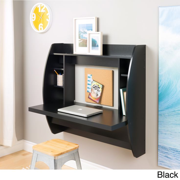 The space-saving design of this contemporary black floating desk with storage is great for creating a stylish and functional work area within smaller environments. Easy to mount, this desk makes the perfect addition to any modern home office.