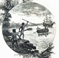 "The aborigine people had never seen white people until Captain James Cook landed in Botany Bay in 1770. They were shocked to see these white people in their strange clothes.  When the aborigines first saw the ships of the ""First Fleet"" enter Botany Bay in 1778 with so many white skinned people they thought they were the spirits of their dead ancestors (after all they were so white). In fact these were the first European settlers led by Captain Arthur Phillip. See the site for further info..."