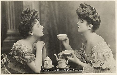 Find yourself a cup of tea; the teapot is behind you.  Now tell me about hundreds of things.  ~Saki: Tea Party, Tea Time, Vintage Photos, Teas, Tea Parties, Gibson Girls, Afternoon Tea, Hair, Teatime