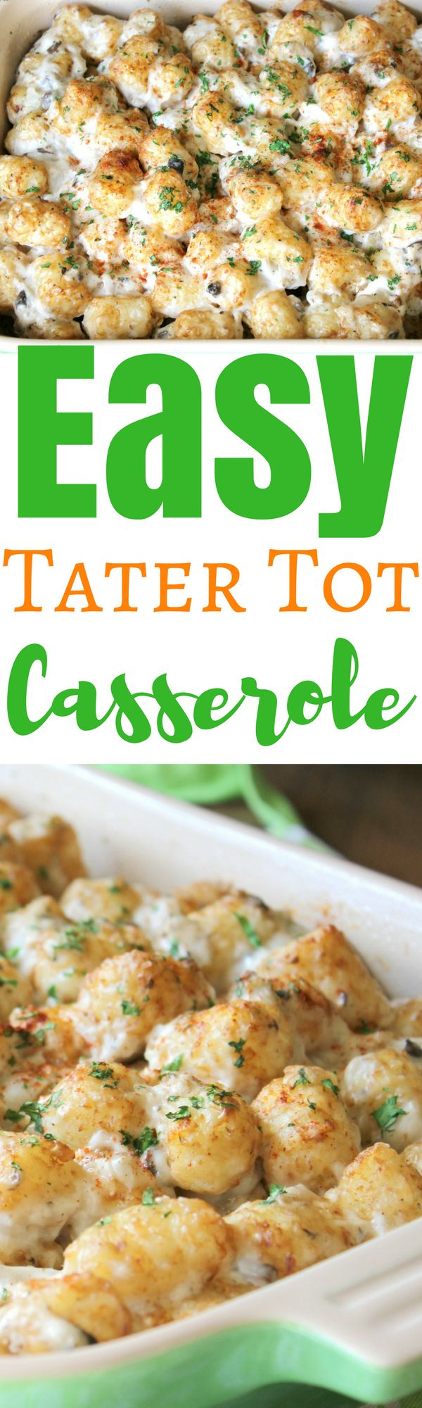 When you're not sure what to cook for dinner, this Easy Tater Tot Casserole recipe is the perfect option. A quick & easy meal the family loves. via @simplymommy