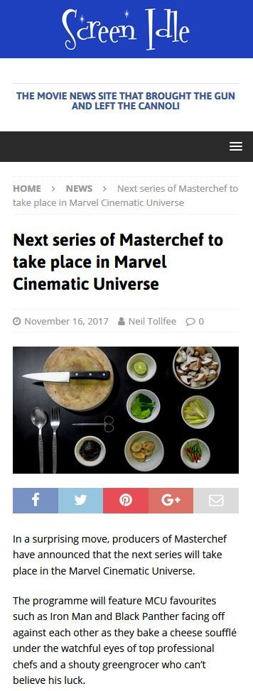 "A MasterChef/Marvel mash-up, starring Gregg Wallace as ""a shouty greengrocer who can't believe his luck,"" and the Hulk who ""lacks the temperament to not smash him through a wall!"""