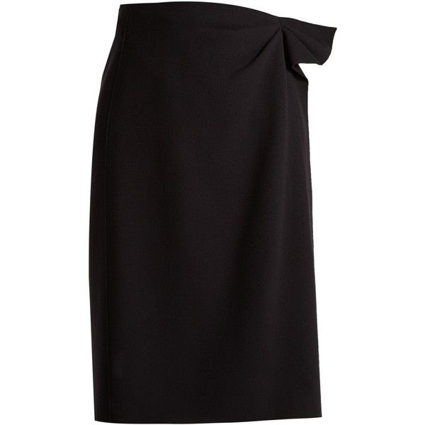 Bottega Veneta Asymmetric wool-crepe pencil skirt ($810) ❤ liked on Polyvore featuring skirts, navy, ruched asymmetrical skirt, crepe skirt, purple skirt, knee length pencil skirt and navy blue pencil skirt
