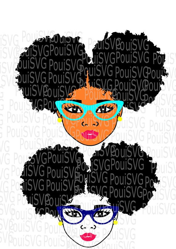 Afro Woman Afro Puffs Svg Natural Hair Svg Silhouette