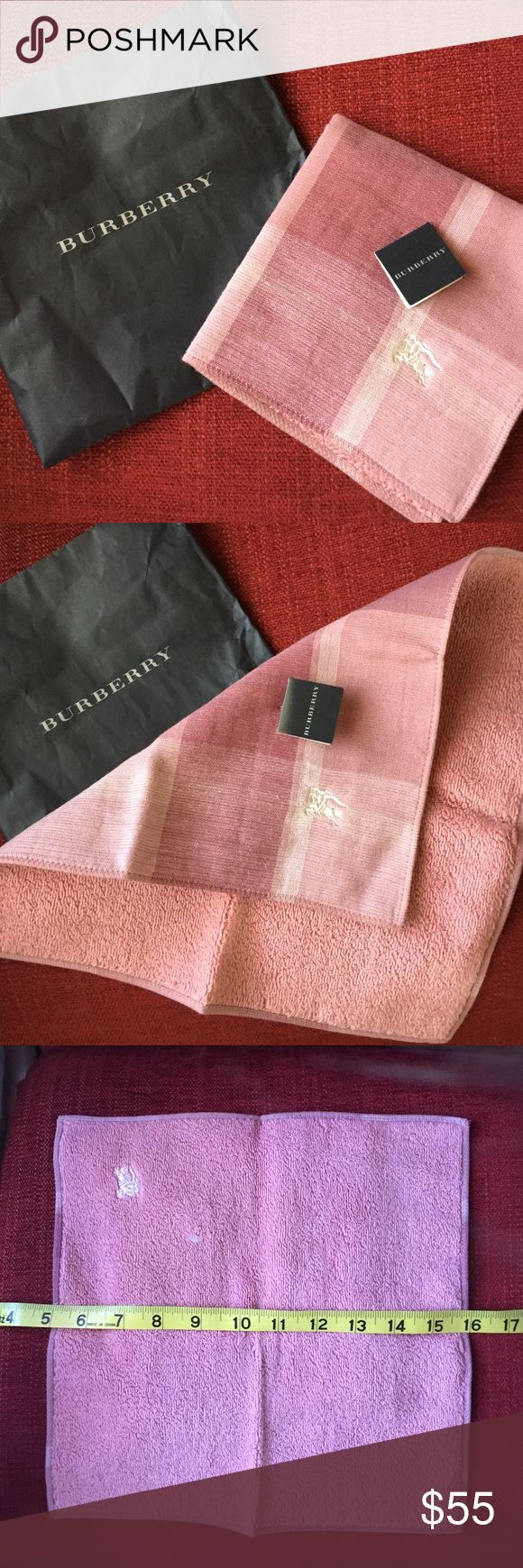 Burberry hand towel Authentic. Brand new. Come with the original paper bag.  Japan BURBERRY Logo Checker Plaid Handkerchief Hand Towel Pink Purple 100 Cotton. Will be a great gift for some one you love or pamper yourself. Burberry Other
