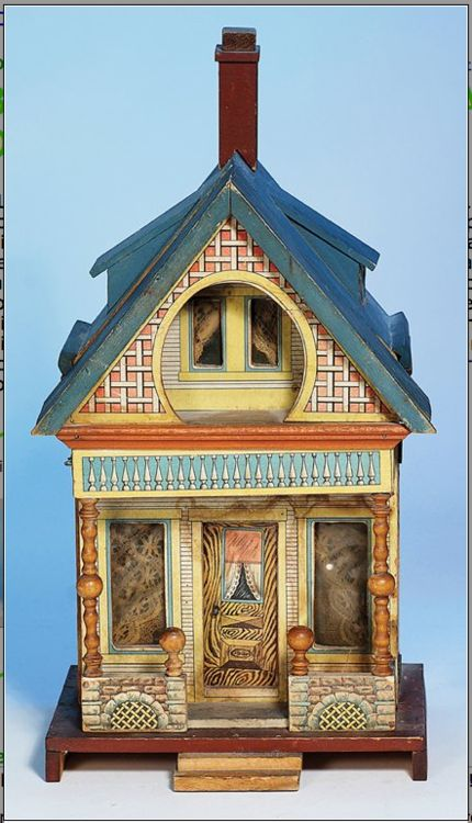 """BLISS """"KEYHOLE"""" LITHOGRAPHED WOODEN DOLL HOUSE"""