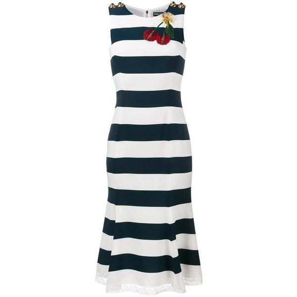 Dolce & Gabbana Navy Cherry Embroidered Dress ($2,097) ❤ liked on Polyvore featuring dresses, navy, striped dresses, blue stripe dress, cherry dress, embroidered dress and blue cherry dress