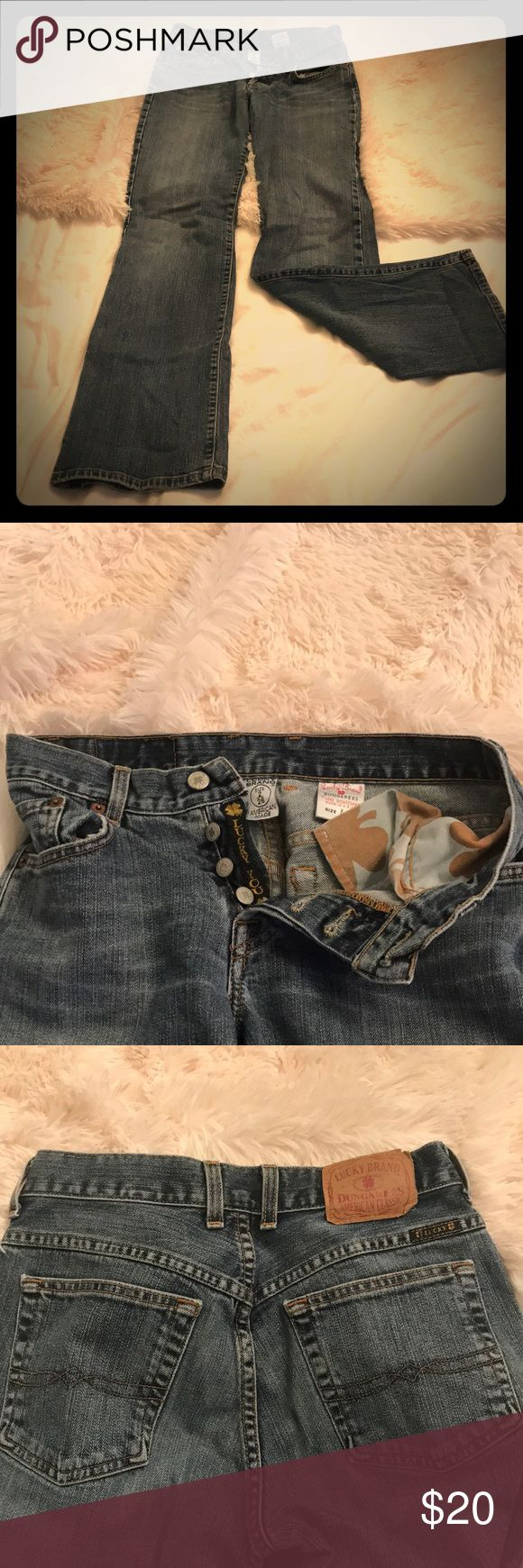 Lucky Brand Dungarees Feeling Lucky 🍀 These Lucky Dungaree Jeans are the best! They are size 2/26 waist and in perfect condition. Lucky Brand Jeans Boot Cut
