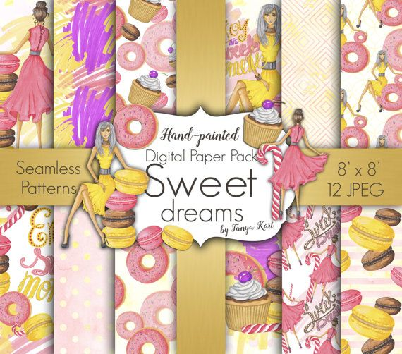 Girls Digital Paper , Sweets Digital Paper Pack, Macaron Digital Paper, Fashion Digital Paper, Scrapbooking  Paper, Sweet Seamless Patterns