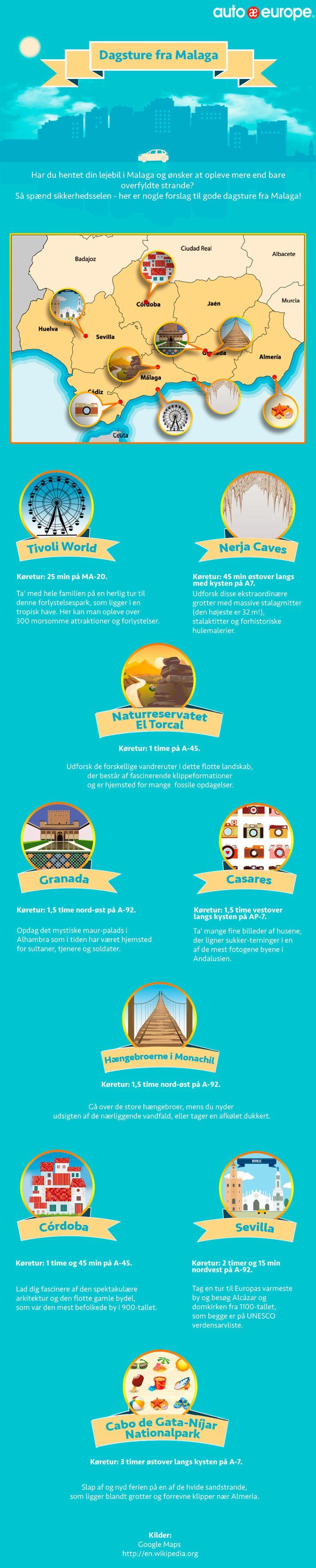 Infographic: Dagsture fra Malaga - Find flere af vores infografikker her: http://www.autoeurope.dk/go/infographics/