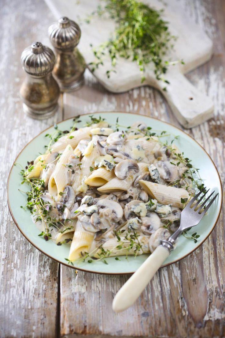 Pennes, sauce champignon au thym | Recette | Sauce aux ...
