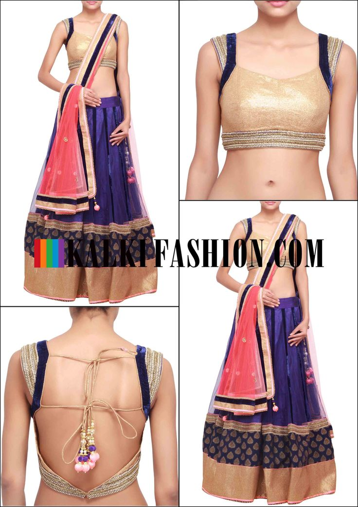 Get this beautiful lehenga here: http://www.kalkifashion.com/navy-blue-lehenga-featuring-in-brocade-hem-line-only-on-kalki.html Free shipping worldwide.