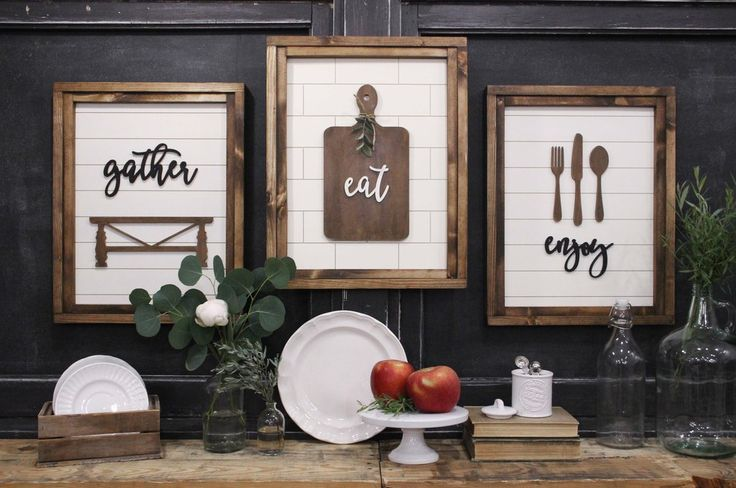 GATHER. EAT. ENJOY Trio | Handcrafted 3D Sign
