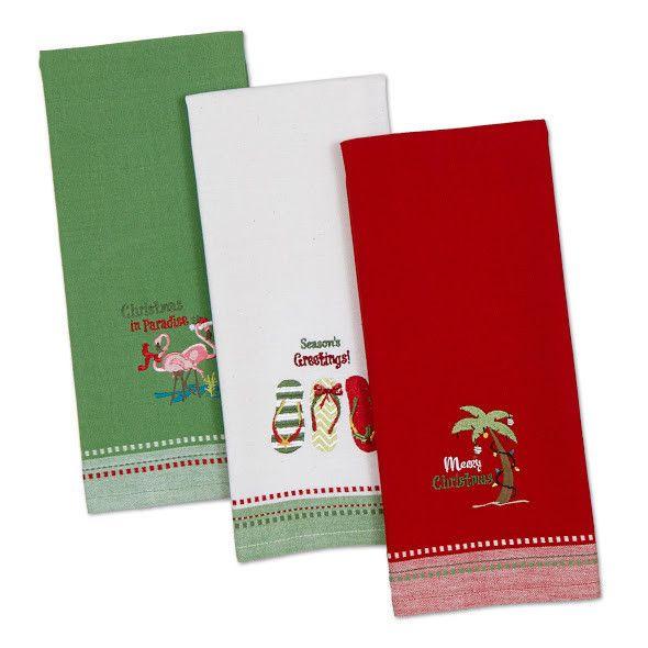 Coastal Christmas Embroidered Dishtowels - Set of 3