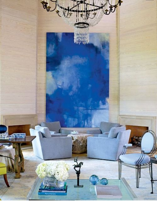 Luxuriate in the Living Room. Cobalt and periwinkle blues. Interior Designer: Vicente Wolf?