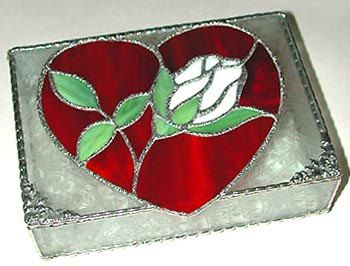 "Stained Glass Jewel Box - White Rose & Red Heart - 5 1/2"" x 8 1.2""  by StainedGlassDelight"