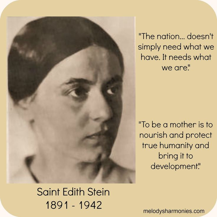 edith stein woman essays I first fell in love with the writings of st edith stein (aka st teresa benedicta of the cross) when i was in grad school and read her essays on woman with some girlfriends during lent (see told you i was a nerd) i decided to re-read the essays a few months ago and was struck by one section in particular.