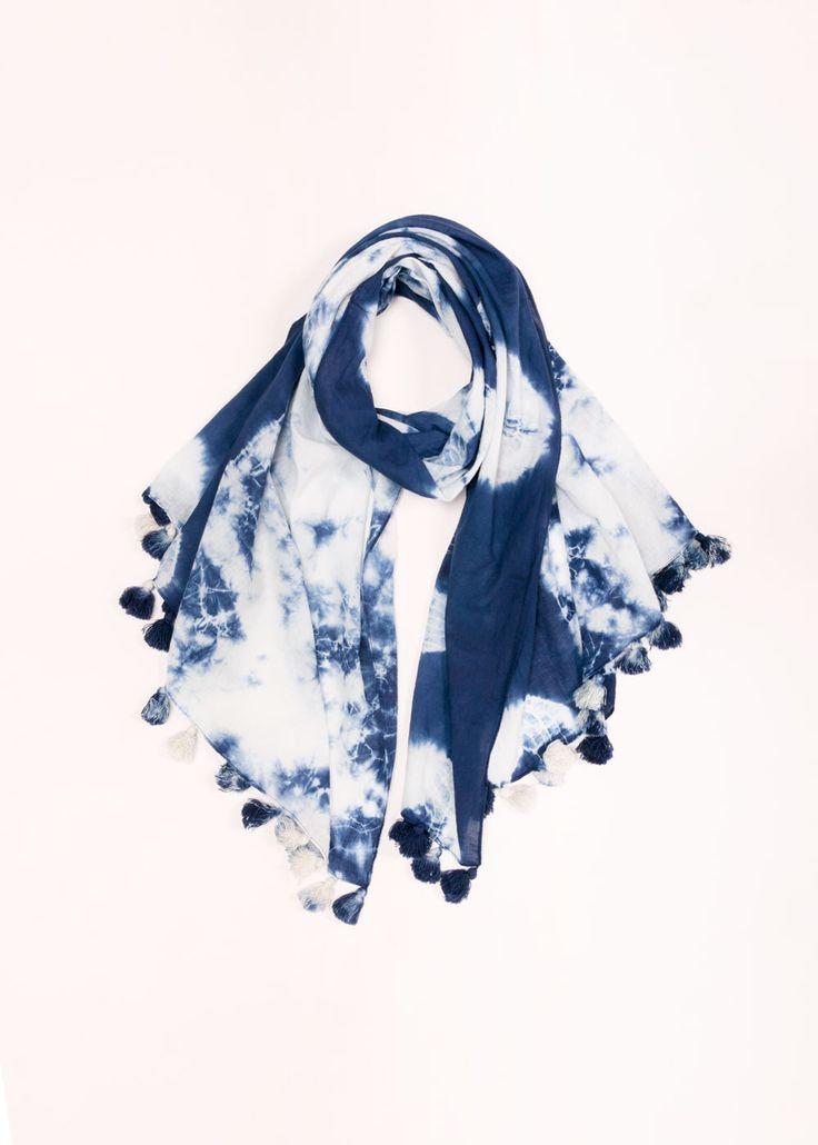 Tie Dye Tassel Scarf - Navy ......................... #lookbym #scarf #longscarf #scarves #tassles #tassel #tiedye #blue #colorful #spring #ootd #musthave #fashion #womensfashion #womensaccessories #springaccessories #colorful #bright #look