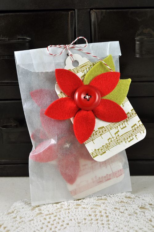 Dawn McVey Felt Poinsettia Christmas Tags in glassine bags