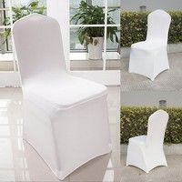 Wish   New 50pcs Spandex Chair Covers for Wedding Supply Party Banquet Decoration (Size: 50pcs, Color: White)