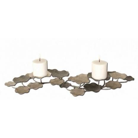 Uttermost Lying Lotus Metal Candleholders  Candleholder Is Made Of Hand Forged Metal Finished In Champagne Silver And Pewter. This May Be Hung On Wall Or Used On Tabletop. Two White Candles Included.