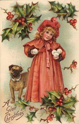 Vintage card image:  girl and dog