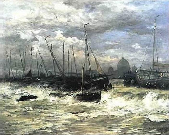 Hendrik Willem Mesdag (1831-1915) Storm op zee voor de kust van Scheveningen. Op de achtergrond schilderde Mesdag de contouren van café-restaurant Seinpost, dat in 1886 werd gebouwd.