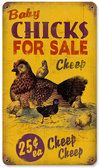 Retro Chicks for Sale Tin Sign 8 x 14 Inches