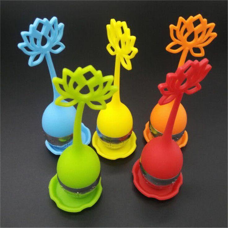 1 pz Silicone A Forma di Loto Tè Dell'acciaio inossidabile Infusore Cucchiaino Sciolto Foglia di Erba Strainer Filtro
