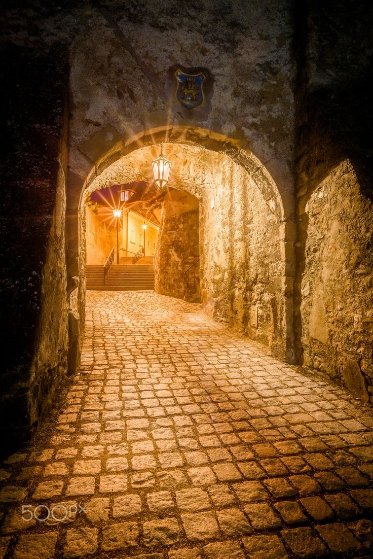 Golden street - One of beautiful streets of Hainburg an der Donau, Austria.