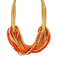 Orange statement necklace from Pree Brulee